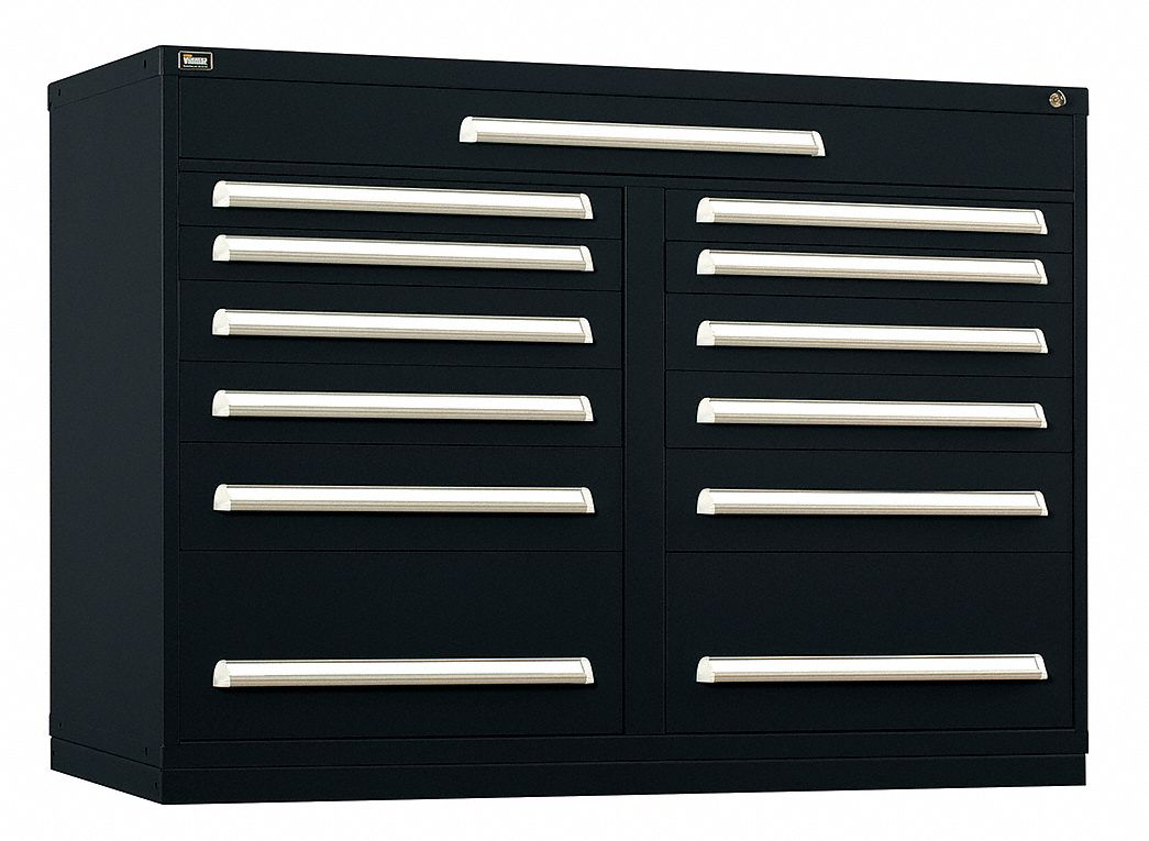 Stationary Counter Height Modular Drawer Cabinet, 13 Drawers, 60 inW x 27 3/4 inD x 44 inH Black