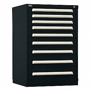 "Stationary Counter Height Modular Drawer Cabinet, 9 Drawers, 30""W x 27-3/4""D x 44""H Black"