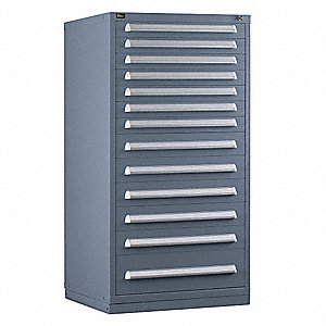 "Stationary Full Height Modular Drawer Cabinet, 13 Drawers, 30""W x 27-3/4""D x 59""H Light Gray"