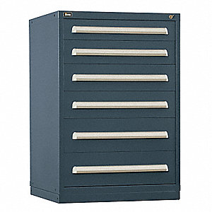 "Stationary Counter Height Modular Drawer Cabinet, 6 Drawers, 30""W x 27-3/4""D x 44""H Light Gray"