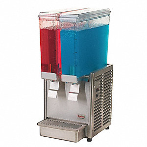 2.4 gal. 2 Bowls Cold Beverage Dispenser, Stainless Steel