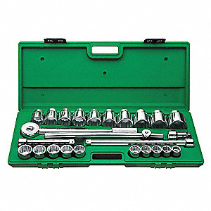 SOCKET SET,3/4 IN DR,12 PT,25 PC