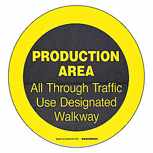 "Floor Marking Sign, Message, Circle, 2"" Width, 1 EA"