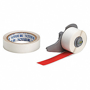 "Polyester Print On Demand Floor Label, Red/Clear, 1""W x 50 ft."
