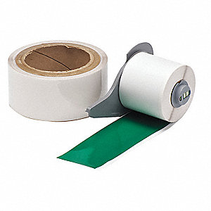 "Polyester Print On Demand Floor Label, Green/Clear, 2""W x 50 ft."