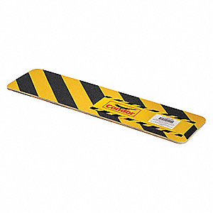 "24"" x 6"" Aluminum Oxide Antislip Tread, Black/Yellow"