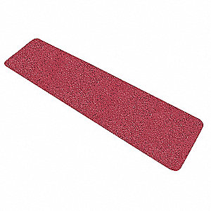 "Solid Red Anti-Slip Tread, 6"" x 2.0 ft., 46 Grit Aluminum Oxide, Acrylic Adhesive, 10 PK"