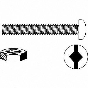 STOVE BOLT,RND HD,SQ DRV,NUT,3/8X1-1/2