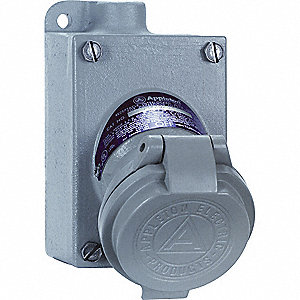 Pin and Sleeve Receptacle, 120/240VAC Voltage, 20 Amps, Number of Poles: 3, Number of Wires: 2