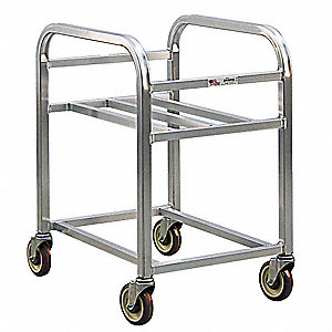 "26-1/4"" x 20-1/4"" x 33"" All Welded Aluminum Bin Cart with 2-1/4 Bushel Load Capacity, Silver"
