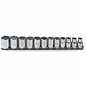 SET SOCKET 3/8 DR 12 PC 12PT