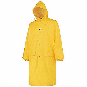 "Men's Yellow Polyurethane Rain Coat with Attached Hood, Size L, Fits Chest Size 42"" to 44"""