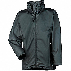 "Women's Black Polyurethane Rain Jacket, Size L, Fits Chest Size 42"" to 44"""