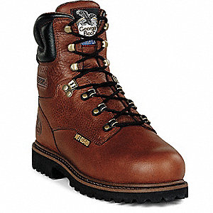 "8""H Men's Work Boots, Steel Toe Type, Leather Upper Material, Briar Brown, Size 10W"