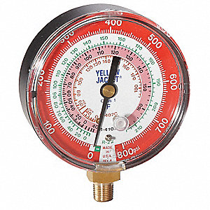 Gauge,3-1/8In Dia,High Side,Red,800 psi