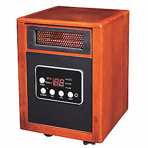 "10-5/8"" x 12-5/8"" x 15-7/16"" Fan Forced Non-Oscillating Electric Wooden Box Heater, Wood"