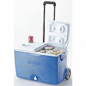 COOLER 60QT W/HANDLE + WHEELS BLUE