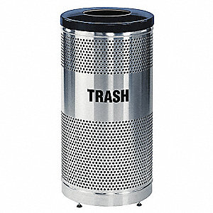 CONTAINER TRASH 25GA W/LINER S/S/BK