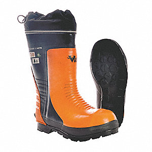 "15""H Men's Chain Saw Boots, Steel Toe Type, Natural Rubber Upper Material, Orange, Size 8"
