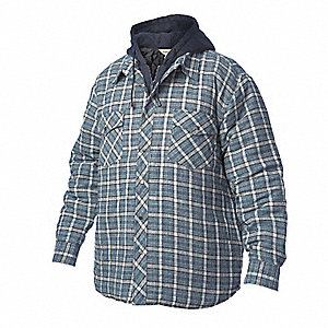 QUILT LINED HOODED FLANNEL SHIRT