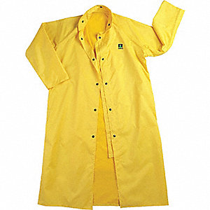 COAT RAIN PU/NY 49IN YELLOW MED
