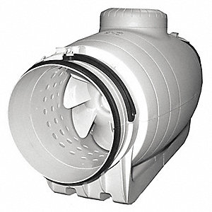 "Thermoplastic Mixed Flow Duct Fan, Fits Duct Dia. 6"", Voltage 120V"