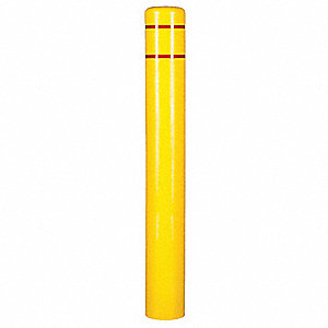 "72""H High Density Polyethylene Bollard Cover For Post Size with 6"" dia., Yellow"