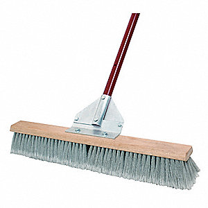 "Synthetic, Polypropylene Push Broom, Block Size 24"", Hardwood Block Material"
