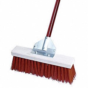 "Poly Corn Fill Push Broom, Block Size 18"", Hardwood Block Material"