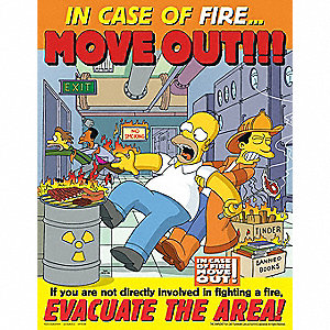 SIMPSONS FIRE POSTER 17X22