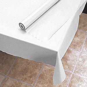 Table Cover,Plastic,40 In x 300 Ft,White