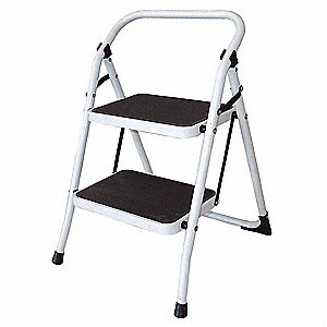 "Steel Household Step Stool, 36"" Overall Height, 300 lb. Load Capacity, Number of Steps 2"