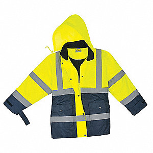 Yellow/Navy Nylon Shell with Quilted Lining, DuPont(TM) PTFE fabric protector Ladies Jacket, Size XL
