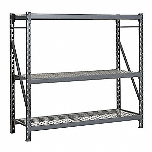 "72""W x 36""D x 72""H 14 ga. Steel Bulk Storage Rack Starter Unit, Gray&#x3b; Number of Shelves: 3"