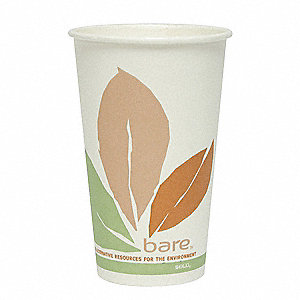 16 oz. Disposable Hot Cup, Single Side PLA Coated Paper, White, PK 300