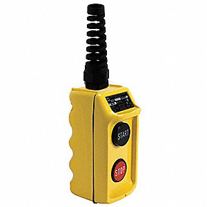 2-Button Start/Stop Pendant Push Button Station, 2NO, NEMA Rating 1, 3, 3R, 4, 4X, Yellow