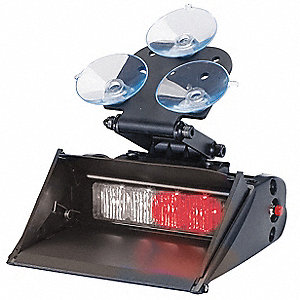 Red/White Shrouded Single Head Dash Light, Suction Cup, 12/24VDC