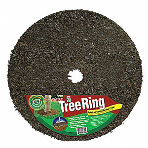 "Brown Rubber Mulch Tree Ring, Rubber, Diameter 60"", Thickness 1/2"""