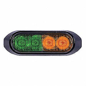 Low Profile Strobe,Green/Amber,Perm,LED