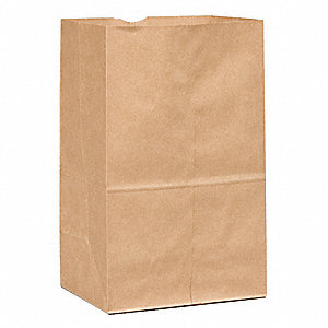 "Grocery Bag, Brown, 20 lb., No Handle, Flat Bottom, Width 8-1/4"", Height 13-3/8"", 500 PK"