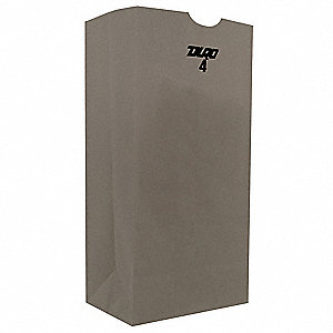 "Grocery Bag, White, 4 lb., No Handle, Flat Bottom, Width 5"", Height 9-3/4"", 500 PK"