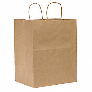"Flat Brown Shopping Bag 9""D x 12""W x 15-3/4""L"
