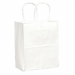 "Flat White Shopping Bag 4-1/2""D x 8""W x 10-1/4""L"