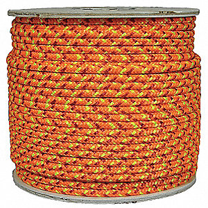 "Polyester Climbing Rope, 1/2"" Rope Dia., 600 ft. Length, Neon Orange/Red/Yellow"
