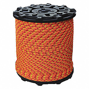 "1/2"" dia. Polyester Arborist Climbing Rope, Neon Orange/Red/Yellow, 600 ft."