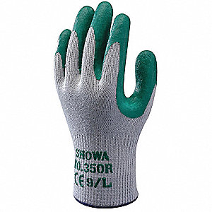 10 Gauge Crinkled Nitrile Coated Gloves, Glove Size: L, Gray/Green