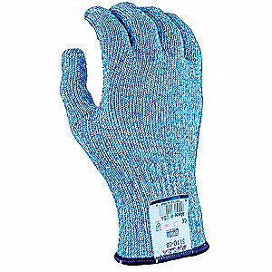 Uncoated Cut Resistant Glove, ANSI/ISEA Cut Level 5, Dyneema® Lining, Blue/White, 9, EA 1