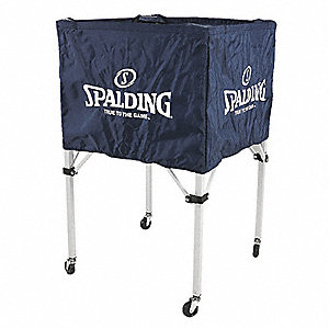 "25 in. x 25 in. x 35.5"" Nylon Denier Volleyball Ball Cart, Navy Blue"