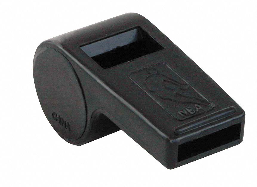 Plastic Whistle,  Black,  Includes Lanyard