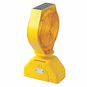 "Solar Barricade Light, 7-1/2"" Head Dia., Amber, Solar"